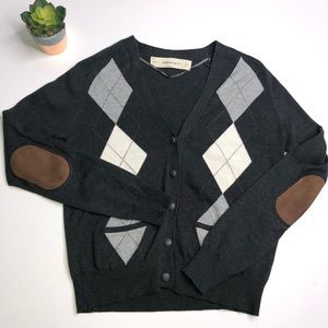 Zara Knit Argyle Cardigan Elbow Patch Sweater Med
